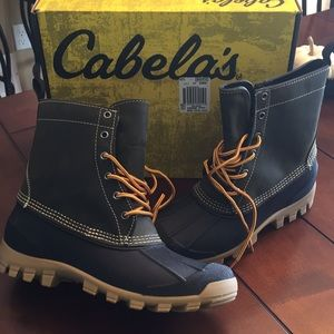 New Cabelas Men's Duck Boots Green Leather 10 D